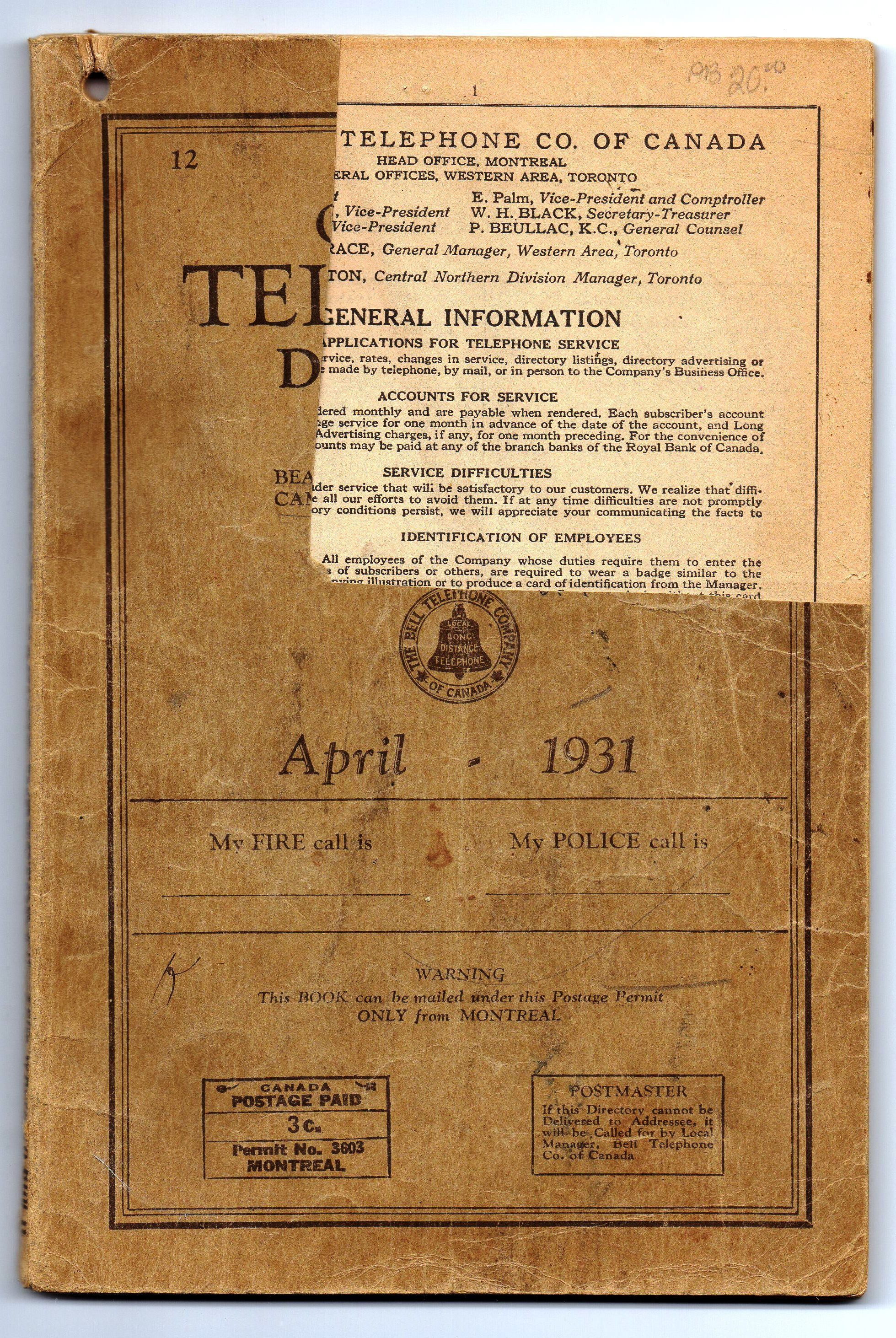 Bell Telephone Directory for Peterboro and Lindsay April 1931 by The Bell  Telephone Company of Canada - Paperback - 1931 - from Attic Books and