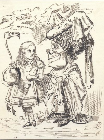 Tenniel drew the sketch in 1880 after his drawing for the first edition (1865) of