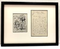 "Rare original pen and ink drawing, ""Alice (with flamingo) Chats with the Duchess.""  from Lewis Carroll's ""Alice's Adventures in Wonderland,"" (1865)  signed with initials and date , ""JT 1880.""  With Autograph Letter Signed two pages on one sheet,  to the editor of ""Punch"" magazine, Aug. 25, 1854"