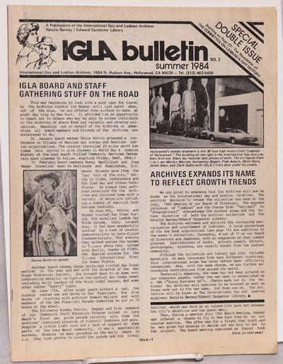 Los Angeles: International Gay and Lesbian Archives Natalie Barney/Edward Carpenter Library, 1984. N...