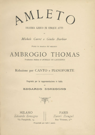 Milano, Paris: Edoardo Sonzogno, Henri Heugel , 1902. Large octavo. Textured red cloth flexible boar...