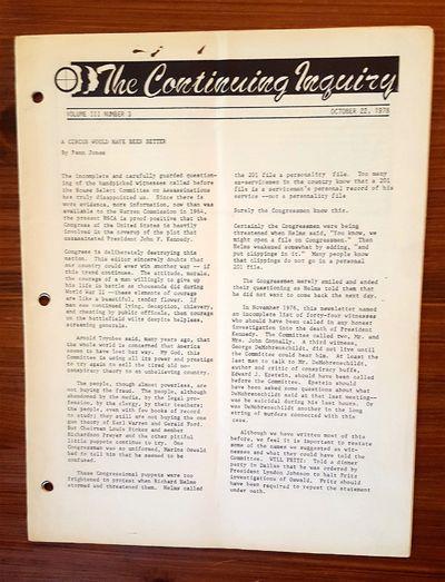Midlothian & Waxahachie, TX: Penn Jones Publications, 1978. Vol. 3 No. 3. Staplebound. Very Good. Or...