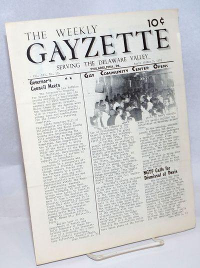 Philadelphia: The Weekly Gayzette, 1976. 4p., 8.5x11 inches, articles, news, reviews, calendar of ev...