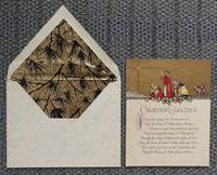 """image of VINTAGE CHRISTMAS CARD """"MAY THE PEACE OF ALLAH"""".  DECORATED ENVELOPE."""