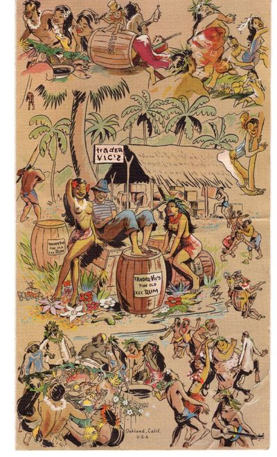 Oakland: Trader Vic's, 1947. Pamphlet. Very good. Bi-fold, color illustrated mailer from Trader Vic,...