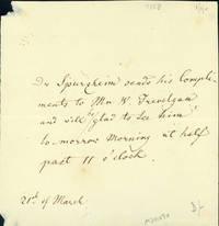 Autograph note to Mr. W. Trevelyan