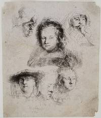 [Studies of the Heads of Saskia and Others] signed on the verso by the Parisian print seller Naudet, dated 1801