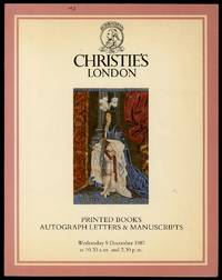 image of Christie's London: Printed Books Autograph Letters & Manuscripts, Wednesday 9 December 1987