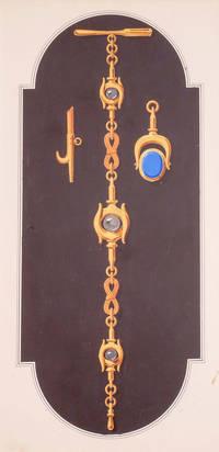 Original gouache design - gold bracelet with nautical detailing and charms.