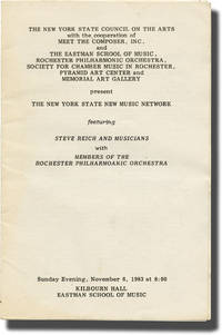image of Steve Reich and Musicians, November 6, 1983 (Original program)