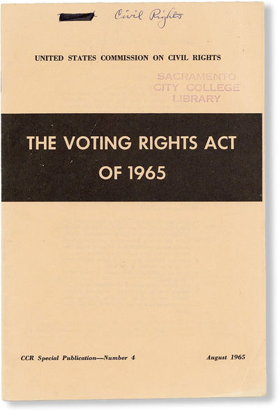 : United States Commission on Civil Rights, 1965. First Edition. Octavo (22.5cm.); orange printed st...