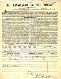 image of 1892 Pennsylvania Railroad Co. Freight Recipe