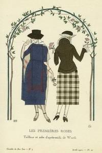 Les Premieres Roses: Tailleur et robe d'apres-midi, de Worth Print from the Gazette du Bon Ton