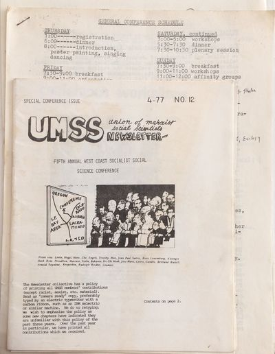 Berkeley: UMSS, 1977. 23p., 7x8.5 inch newsletter, mild handling and staining, with a mimeographed s...