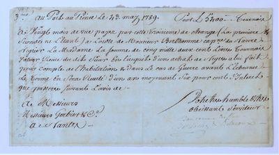 Manuscript bill of exchange payable...