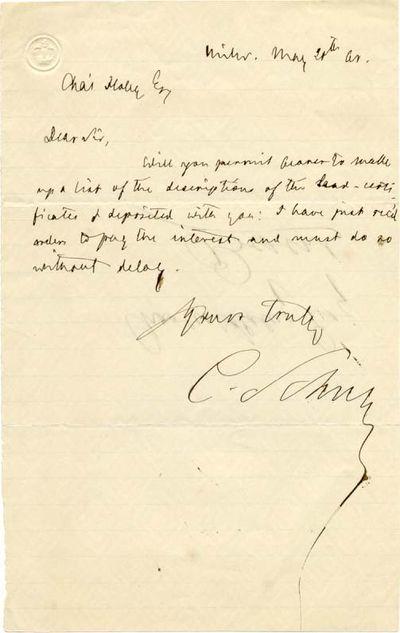 "CARL SCHURZ (1829-1906). Schurz was a Civil War General and Senator from Missouri. ALS. 1pg. 5"" x ..."
