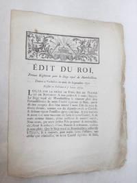 EDIT du Roi, Portant Règlement pour le Siège royal de Montdoubleau. Donné...