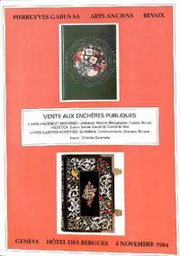 vente 4 Novembre 1984 bibliothèque d'un amateur suisse. Livres anciens et  modernes :...