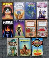 image of 11 MICHAEL MOORCOCK NOVELS.  1. COUNT BRASS. 2. CAMPION OF GARATHORM. 3. QUEST FOR TANELORN. 4. JEWEL IN THE SKULL. 5. MAD GOD'S AMULET. 6. RUNESTAFF. 7. KNIGHT OF SWORDS. 8. QUEEN OF SWORDS. 9. OAK AND THE RAM. 10. HOLLOW LANDS. 11. END OF ALL SONGS.