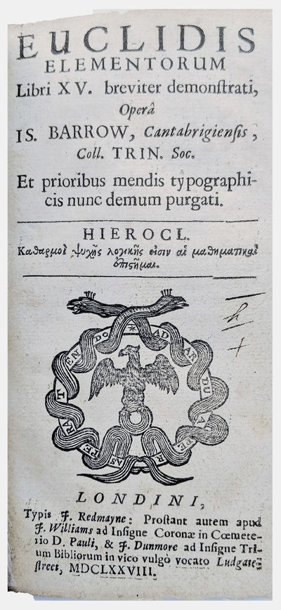 London:: J. Redmayne, 1678., 1678. 2 parts bound as 1. Small 8vo. , 352, 363-401, pp. Title woodcut ...