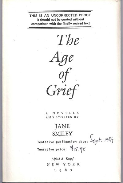 New York: Alfred A. Knopf, 1987. First Edition. Wraps. Fine. Uncorrected proof in printed white wrap...