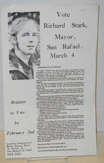 San Rafael, CA: Campaign Headquarters, White Panther Party, . Leaflet, 8.5x14 inches, creased, print...