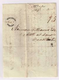 Montpelier dotted oval postmark on stampless letter with 15 ct War rate applied in 1815