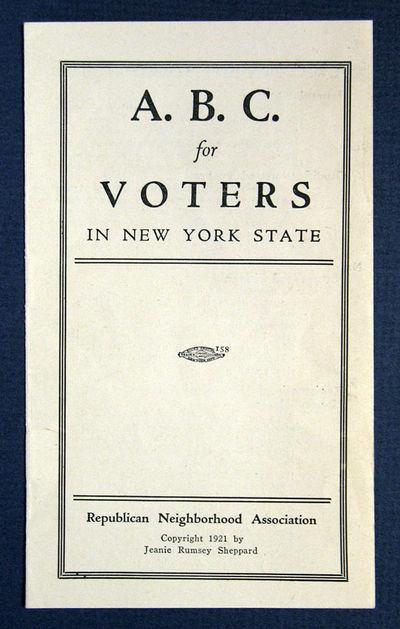 (n. p.): Republican Neighborhood Association, 1921. 1st edition (presumed). White printed paper wrap...
