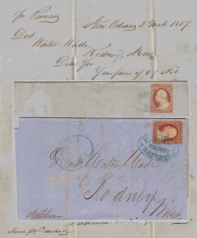 New Orleans, Louisiana to Rodney, Mississippi, 1857. Envelope or Cover. Very good. Both one-page fol...