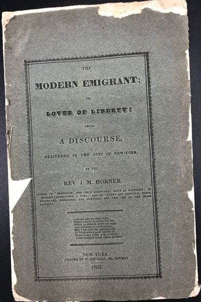New-York: Printed by W. Mitchell, 265, Bowery, 1832. First edition. 8vo. 18 pp. Original printed wra...
