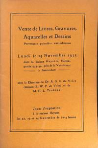 Sale 25 Novembre 1935: Vente de Livres, Gravures, Aquarelles et Dessins.  Provenance princière autrichienne. by R.W.P. DE VRIES - AMSTERDAM