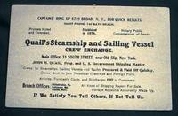 Card Advertizing Quail's Steamship and Sailing Vessel Crew Exchange New York