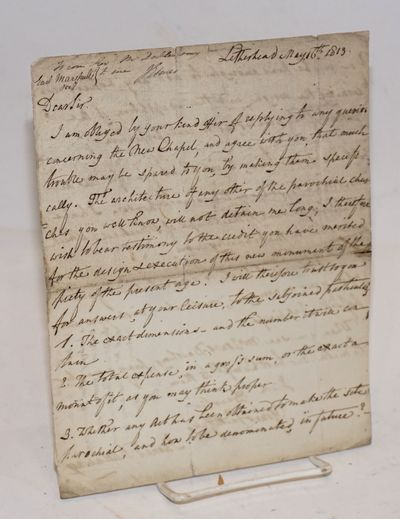 Leatherhead: the author, 1813. 7x9 inch sheet with handwritten letter taking up both sides, fold-cre...