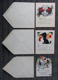 image of 3 VINTAGE CHRISTMAS CARDS - 1. CAT.  2. DOG.  3. CHILDREN CAROLLING.  WITH ORIGINAL ENVELOPES.