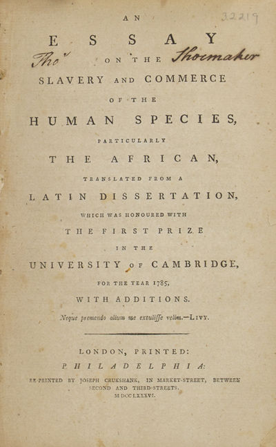 Clarkson Thomas An Essay On The Slavery And Commerce Of Human Species Particularly African Translated From A Latin Dissertation