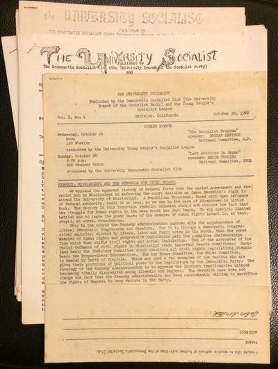 Berkeley: Democratic Socialist Club: University branch of the Socialist Party; and the Young People'...
