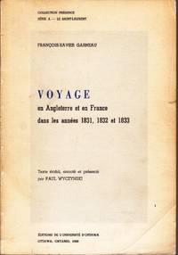 Voyage en Angleterre et en France dans les années 1831, 1832 et 1833.