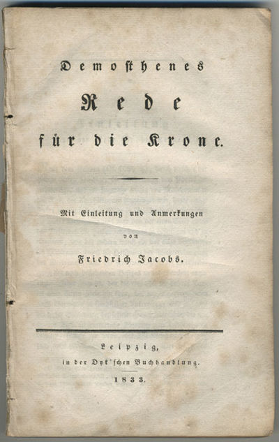 Leipzig: In der Dyk' sche Buchandlung, 1833. 8vo. 207, pp. Ma Hera! As if Athens did not have enough...
