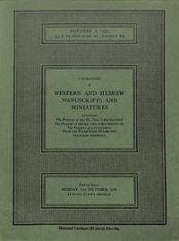 Sale 6 Dec. 1971: Catalogue of Western and Hebrew Manuscripts and  Miniatures, including the property of the Rt. Hon. Lord Saltoun, the Rt.  Hon. Lord Brownlow, the property of a Gentleman (from the Willis King III  library) and other properties.