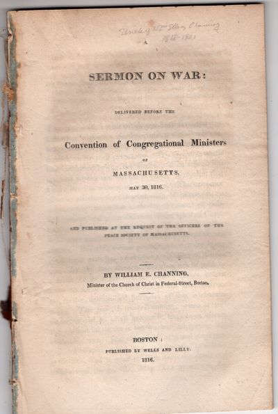 Boston: Wells and Lilly , 1816 . First Edition. Pamphlet. Very good. 36pp., disbound. Ultimately one...