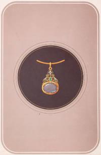 Original gouache design - pendant with oval gem.