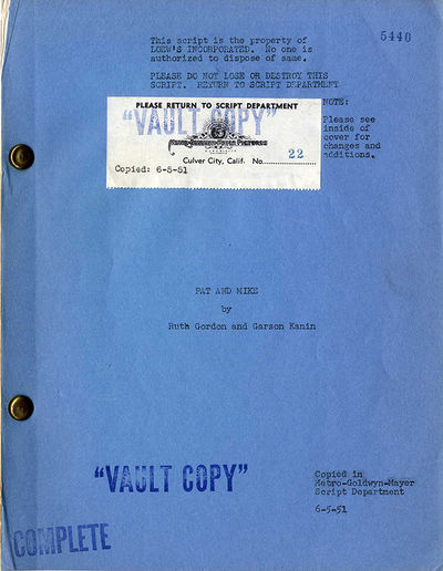 PAT AND MIKE (1952) Film script by...