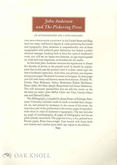 N.P.: Yellow Barn Press and Fairleigh Dickinson University, 1995. paper wrapper. Pickering Press. ta...