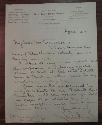 Brooklyn, 1902. unbound. Autographed letter signed on rare