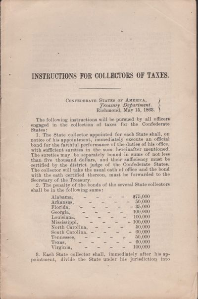 Abaa Instructions For Collectors Of Taxes Confederate States Of