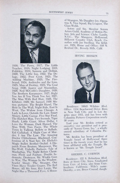 Los Angeles: Los Angeles Jewish Institutions and Their Leaders, 1957. Hardcover. vg. 4to. 224 pp. Bl...