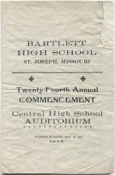 St. Joseph, Missouri, 1912. Unbound. Very Good. Single leaf folded to make four pages. Upper corner ...