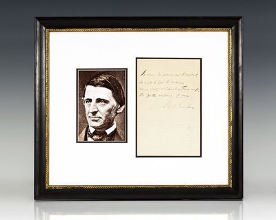 1864. Autographed letter signed by Ralph Waldo Emerson. The letter reads,