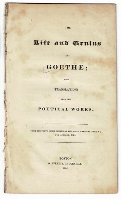 Boston: From the ... North American Review, 1824. First edition, 8vo, pp. 24; removed from binding, ...