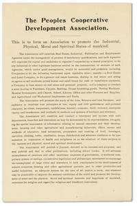 Broadside: The Peoples Cooperative Development Association: This is to for an Association to promote the Industrial, Physical, Moral and Spiritual Status of mankind